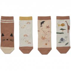 Silas Cotton Socks 4 Pack / Safari Rose Mix