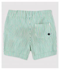 Gestreepte short / wit Marshmallow + groen Gazon