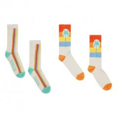 Palmier & Radical Socks - 2 Pack / Off white
