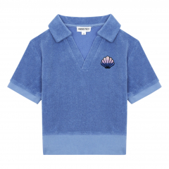 Organic Terry Cloth Polo Shirt / Vintage Blue