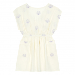 Embroidered Organic Cotton Muslin Dress / Off white