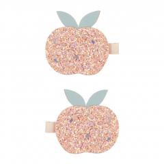 Glitter Peach Clips / Peach