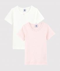 Set van 2 T-Shirts / Wit - Roze