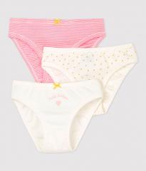 Set 3 slipjes / Wit + Roze (gele hartjesprint)
