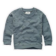 Sweatshirt Sausage Dog Print / Lake Blue