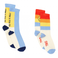 Pack 2 Yes Yes Chill Socks / White