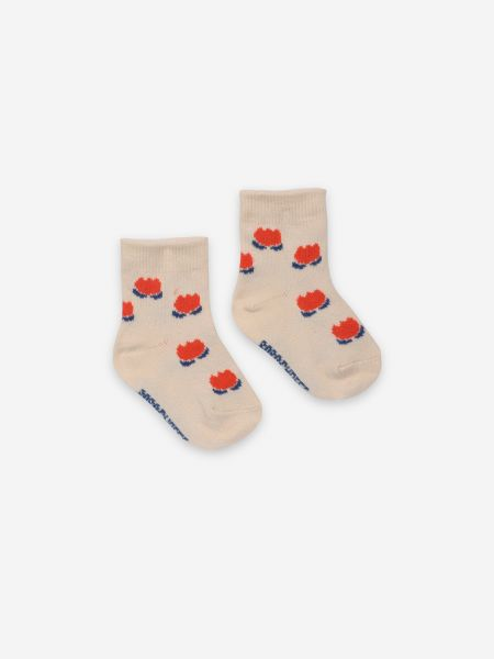 Chocolate Flowers White Baby Socks