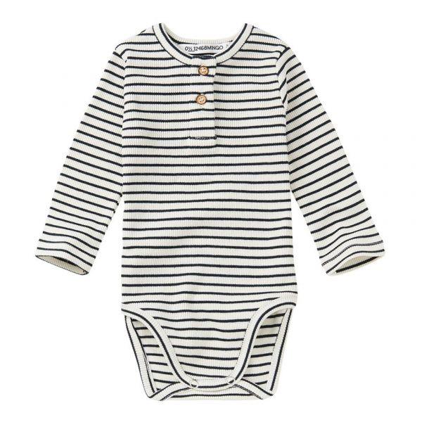 Rib Bodysuit Stripes / White - Black