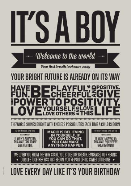 Poster / It's a Boy / A3