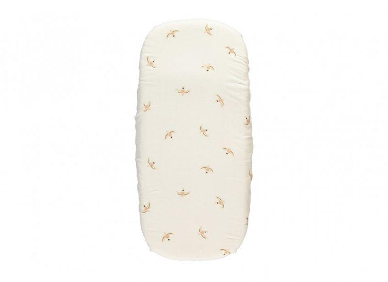 Melody Newborn Craddle Sheet / Nude Haiku Birds Natural