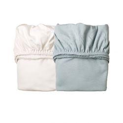 Sheet for cradle (2 pcs) Misty Blue / White