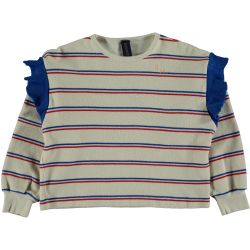 Sweatshirt Frill Stripes / Ivory