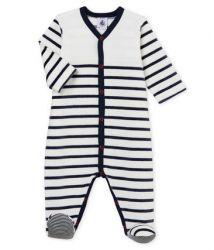 Babypyjama met voetjes / Marine-streepjes
