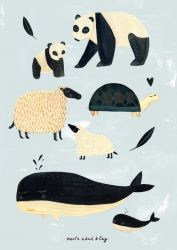Poster black + white animals grey 50x70 cm